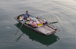 Mujer vietnamita en la bahía de Halong Foto de archivo libre de regalías