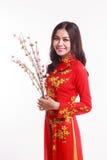 Mujer vietnamita hermosa con ao rojo dai que sostiene la flor de cerezo Imagen de archivo libre de regalías