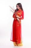 Mujer vietnamita hermosa con ao rojo dai que sostiene la flor de cerezo Imagenes de archivo