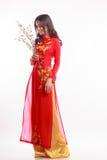 Mujer vietnamita hermosa con ao rojo dai que sostiene la flor de cerezo Fotos de archivo