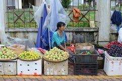Mujer vietnamita local que vende la fruta Imagen de archivo libre de regalías
