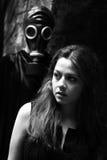Mujer y acosador Imagen de archivo