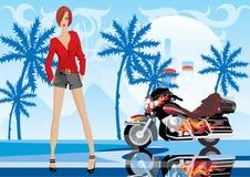 Mujer y bici Imagen de archivo libre de regalías