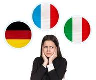 Mujer y burbujas con las banderas de países Fotografía de archivo libre de regalías