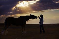 Mujer y caballo imagen de archivo