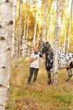 Mujer y caballo Fotos de archivo libres de regalías