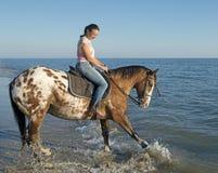 Mujer y caballo del appaloosa Imagen de archivo