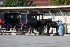 Mujer y caballo y cochecillo pasados de moda de Amish imagenes de archivo