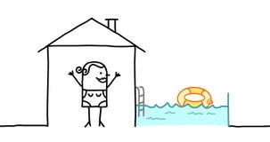 Mujer y casa con la piscina Imágenes de archivo libres de regalías