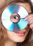 Mujer y CD Imagenes de archivo