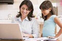 Mujer y chica joven en cocina con la computadora portátil imágenes de archivo libres de regalías