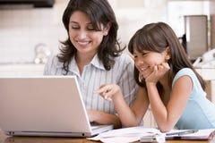 Mujer y chica joven en cocina con la computadora portátil Imagen de archivo