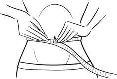 Mujer y cinta - tamaño de medición de la serie de la cintura ilustración del vector