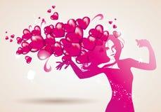 Mujer y corazones rojos Imagen de archivo
