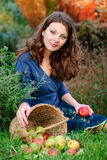 Mujer y cosecha de la manzana Fotos de archivo libres de regalías