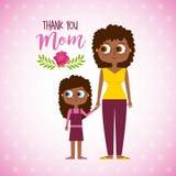 Mujer y daugther afro felices - agradezca a la mamá stock de ilustración