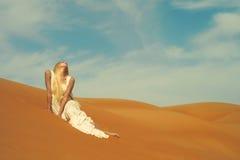 Mujer y desierto. UAE Fotografía de archivo libre de regalías