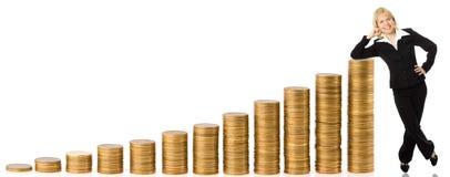 Mujer y dinero de negocios Imagenes de archivo