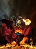 Mujer y dragón del encanto fotos de archivo libres de regalías
