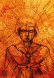 Mujer y espada místicas Dibujo de lápiz en el papel viejo Efecto del color de la estructura de mosaico y Foto de archivo