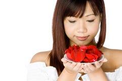 Mujer y flor Fotos de archivo