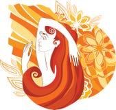 Mujer y flores stock de ilustración