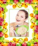 Mujer y frutas Fotografía de archivo libre de regalías