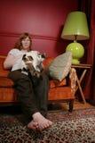 Mujer y gato Fotografía de archivo libre de regalías