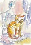 Mujer y gato Foto de archivo libre de regalías