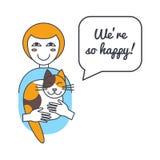 Mujer y gato con la burbuja y decir del discurso Fotos de archivo