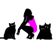Mujer y gatos Fotografía de archivo