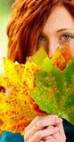 Mujer y hojas de otoño pelirrojas Fotos de archivo libres de regalías