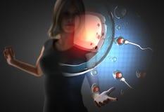 Mujer y holograma futusistic Fotografía de archivo