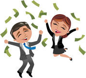 Mujer y hombre acertados de negocios debajo de la lluvia del dinero Imagenes de archivo