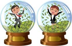 Mujer y hombre acertados de negocios debajo de la lluvia del dinero Foto de archivo libre de regalías