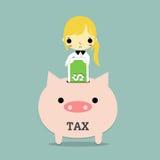 Mujer y impuesto sobre actividades económicas stock de ilustración
