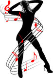 Mujer y música Foto de archivo libre de regalías