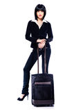Mujer y maleta de negocios Imagen de archivo libre de regalías