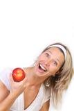 Mujer y manzana Fotos de archivo libres de regalías