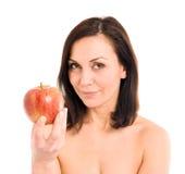 Mujer y manzana Imagen de archivo