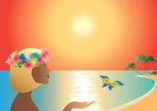 Mujer y mariposa libre illustration