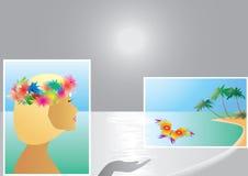 Mujer y mariposa Imágenes de archivo libres de regalías