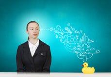 Mujer y pato Imagen de archivo libre de regalías