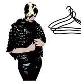 Mujer y perchas Stock de ilustración