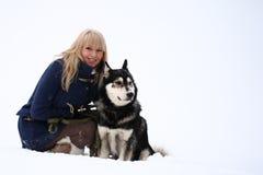 Mujer y perro Foto de archivo