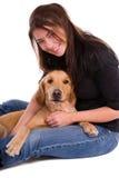 Mujer y perro. Foto de archivo libre de regalías