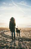 Mujer y perro gris del corso del bastón en la playa durante la puesta del sol - verano Imagen de archivo libre de regalías