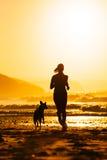 Mujer y perro que corren en la playa en la salida del sol Imagen de archivo libre de regalías