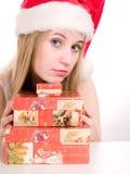 Mujer y rectángulo de la Navidad. Fotos de archivo libres de regalías