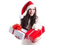 Mujer y regalo felices Fotos de archivo libres de regalías